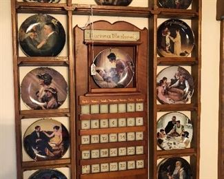 Bradford Exchange Norman Rockwell For All Time perpetual calendar set (12 plates) with display frame