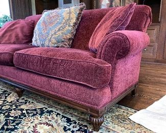 """Two maroon Councill couches, 35"""" high 44"""" deep 72"""" long"""