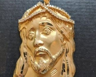 14k large Jesus pendent 62.6 gr with CZ's $2000