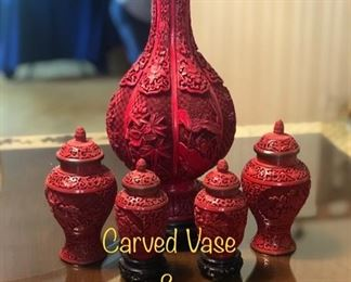 Carved vase and small ginger jars