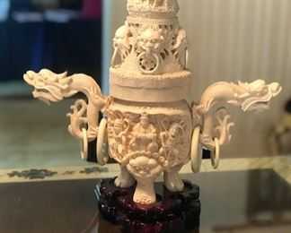 Resin Faux Ivory Incense Burner