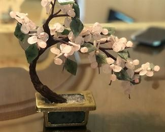 Japanese Cherry Blossom Jade Stone Bonsai Tree