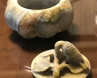 Soapstone Pumpkin Trinket Box