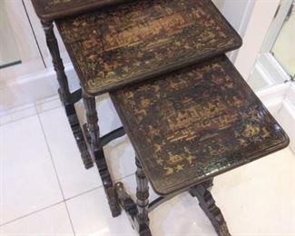 Antique Paper Black Lacquer Nesting Tables