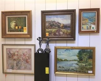 White Metal Statues, Oils and Signed Oils and Edna Hibel