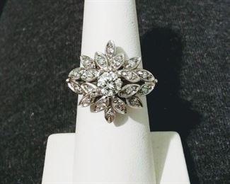 Cluster Diamond Ring in White Gold