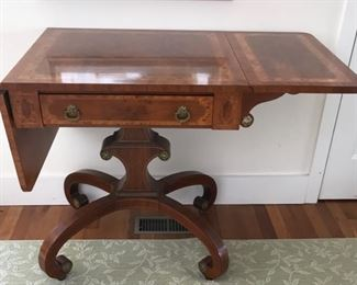 Make and offer – was $600. Mario Buatta table for John Widdicomb. Condition is good or better.  29H x 26W x 24D (50W when open).