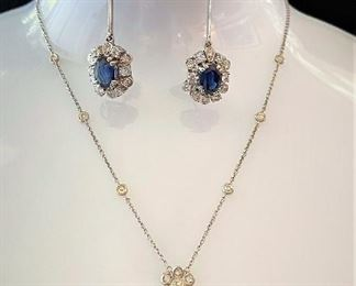 1 Victorian 18k White Gold Ceylon Sapphhire Diamond Necklace  Retro Platinum Sapphire Daimond Earrings