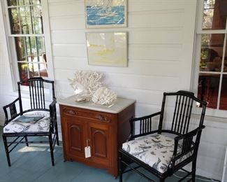 Chairs and coral are sold, marble top commode is still available.