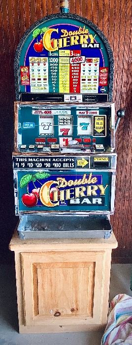 Double Cherry Bar slot Machine in perfect working condition! It can be yours by bidding on the online auction- follow this link to bid!  https://www.estatesales.net/TX/Weatherford/76086/marketplace/26689