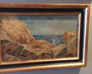 "Albert Insley coastal landscape oil on canvas 9.5"" x 16""                                     $1,250."