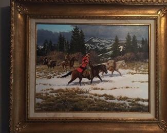 "Paul Abram Jr (1933-2005)             Western Scene     Oil on canvas      22"" x 30""         $2,500."