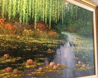 "Gorgeous large oil on canvas               ""Lily Path""                     by Edward Park (Florida)       36"" x 48""      $10,000."