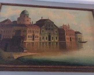 "Oil on BOARD             Venice scene         signed C. Bayer 16"" x 27""    minor scuff damage right corner  $500."