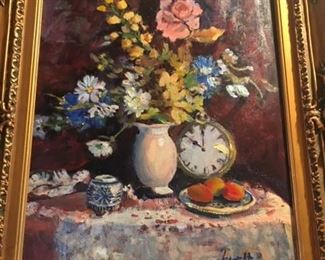 "BEAUTIFUL                         Floral still life                           Illegibly signed        oil on canvas   19.5"" x 15.5""         $450."