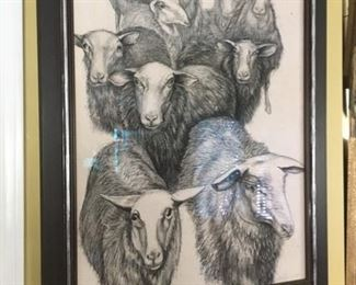 "L. White Sheep Herd      Charcoal on paper  28.5"" x 21""  $3,500."