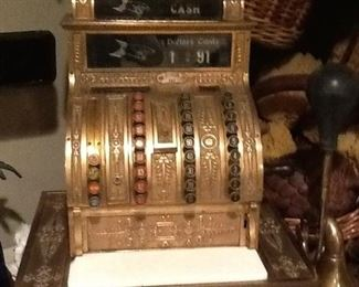 ANTIQUE BRASS CASH REGISTER        original marble                                               works        From the  OLD MARSHALL FIELDS  Store              $ 2500.