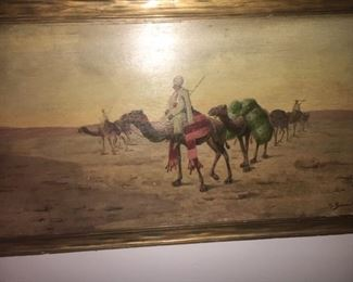 "Orientalist oil on board       27""x13""      unknown artist                    $800.00"
