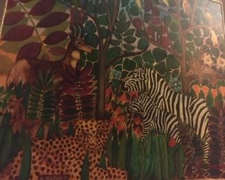 "Oil on board         Jungle scene by Ken Nielsen 31.5'x27.5""              $3,000."