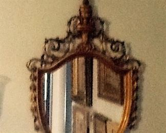 "Old Antique GILTWOOD MIRROR         $375.       42"" long"