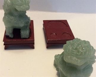 "A Pair of Hand Carved Beijing Chinese Jade Foo Dogs/Temple Lions       3"" High    on wood pedestals.                   $190.       Pair"