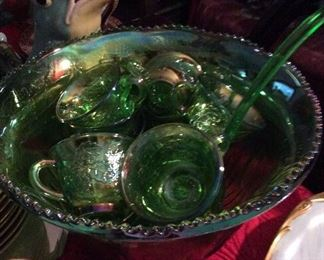 Rare   Green Indiana Carnival Glass Punch Bowl Set       $150.       Bowl - Ladle - Cups