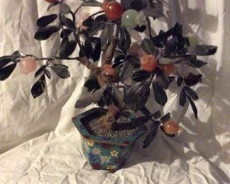 Jade * Rose *Quartz* Carnelian* Turquoise *    TREE                              14 inches tall              Cloisonné Pot       $ 575.