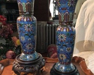 "Antique Cloisonne  Chinese  Vases                             ""BEAUTIFUL""    Pair          16"" tall                 $495.    set"