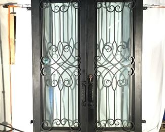 ATTENTION BUILDERS    New  Iron  Double Doors   Glass windows OPEN to clean ...........with FRAME & Keys      Standard Double width            $3200.