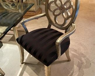 Set of 8 Silver Leaf Dining Chairs