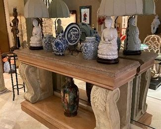 Large Scale Henredon Stone Top Console