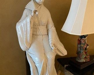 Large Scale Ceramic Figures on Faux Marble Pedestals