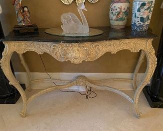 Distressed Finish Console w Marble Top