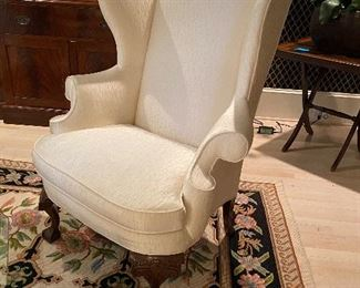 Pair of Heritage Upholstered Arm Chairs with Ball & Claw Feet