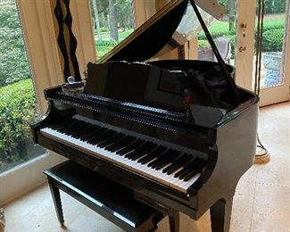 Black Lacquered Baby Grand Piano by Chickering & Sons Model 410