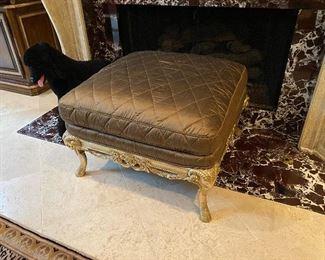 Gold Leaf Upholstered Ottoman