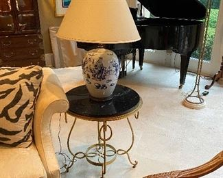 Round Marble Top Table w Gold Leaf Finish