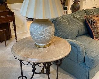 Iron Rope Table w Stone Top