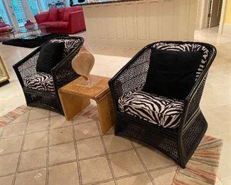 Black Zebra Print Wicker Chairs