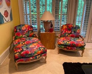 Pair of Sam Moore Chairs w Ottoman