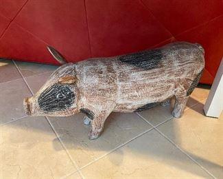 Large Wooden Pig