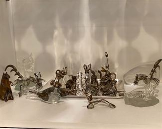 Silver Overlay Glass Figures