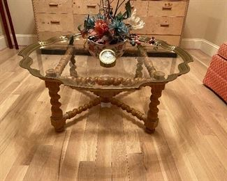 Barley Twist Coffee Table with Brass / Glass Gallery Top