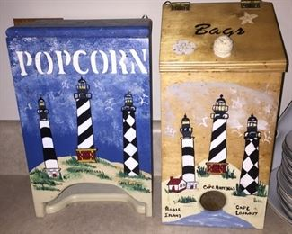 Lighthouse Decorated Popcorn and Kitchen Bag Holders