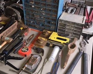 Assorted Tools and Bolt Bins