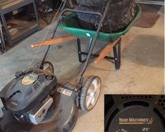 """Yard Machines 21"""" Push Mower and Wheelbarrow"""