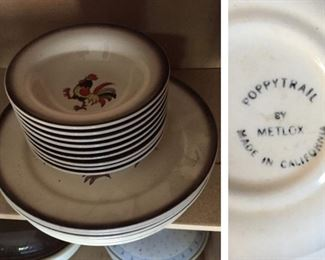 Poppytrail by Metlox Rooster Dinner Plates and Bowls