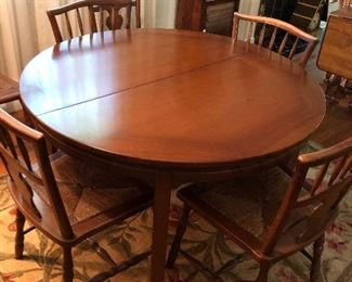 Solid cherry dining table Two leaves 6 chairs
