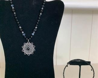 Black Beaded Necklace and Black Beaded Choker Necklace