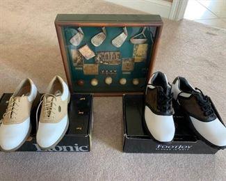 Footjoy and Etonic Golf Shoes, Golf Memorabilia Shadow Box Frame